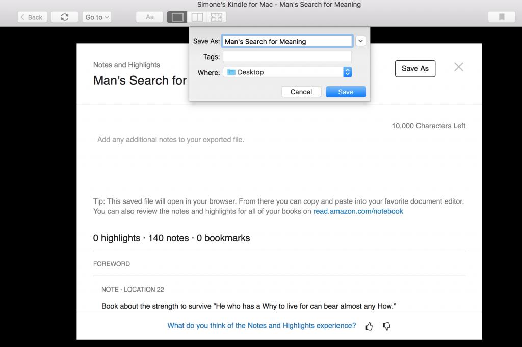 Kindle Esporta note come migliorare la memoria salva HTML